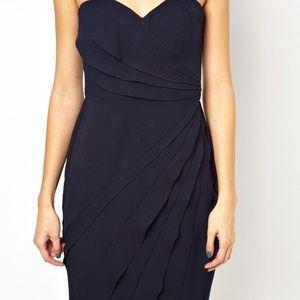 Strapless Sweetheart Neckline Navy Dress